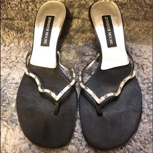 Jennifer Moore Black Satin Crystal Formal Sandals